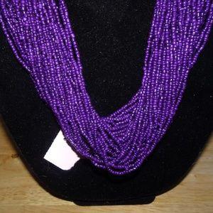 Unknown Jewelry - Purple Seed Bead Macrame Multi~Strand Necklace